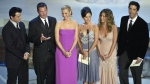 The cast of television's 'Friends', from left: Matt LeBlanc, Matthew Perry, Lisa Kudrow, Courteney Cox Arquette, Jennifer Aniston and David Schwimmer appear during the 54th Annual Primetime Emmy Awards Sunday, Sept. 22, 2002, at the Shrine Auditorium in Los Angeles. (AP Photo/Kevork Djansezian)