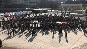 Hundreds of Wet'suwet'en solidarity protesters gathers at Nathan Phillips Square on Saturday, Feb. 22, 2020