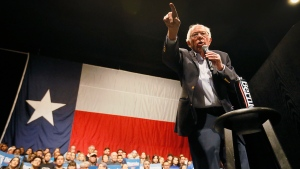 Democratic presidential candidate Sen. Bernie Sanders I-Vt. speaks during a rally in El Paso, Texas, Saturday, Feb. 22, 2020. (Briana Sanchez/The El Paso Times via AP)