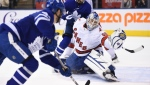 Toronto Maple Leafs left wing Pierre Engvall (47) scores his team's third goal of the game against Hurricanes emergency goalie David Ayres during second period NHL hockey action in Toronto, Saturday, Feb. 22, 2020. Ayres, who serves as the Toronto Marlies' zamboni driver, replaced Petr Mrazek in net after a delay in action. THE CANADIAN PRESS/Frank Gunn