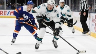 In this Feb. 23, 2020, file photo, San Jose Sharks left wing Patrick Marleau (12) looks to pass during the first period of an NHL hockey game against the New York Islanders in Uniondale, NY. Marleau will get another shot at winning a Stanley Cup after being traded by the San Jose Sharks to the Pittsburgh Penguins on Monday. Feb. 24, 2020, for a conditional draft pick. The struggling Sharks will get a 2021 third-round pick from the Penguins for Marleau that becomes a second-rounder if Pittsburgh wins the title this year.(AP Photo/John Minchillo, File)