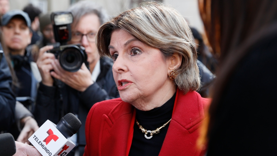 Women's rights attorney Gloria Allred speaks to reporters outside a Manhattan courthouse after the conviction of Harvey Weinstein in his rape trial, Monday, Feb. 24, 2020, in New York. A jury convicted the Hollywood mogul of rape and sexual assault. The jury found him not guilty of the most serious charge, predatory sexual assault, which could have resulted in a life sentence. (AP Photo/John Minchillo)