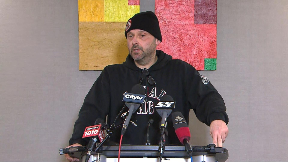 CUPE Local 416 President Eddie Mariconda speaks with reporters on Monday afternoon.