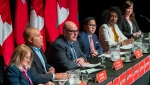 Ontario Liberal Party leadership candidates (left to right) Brenda Hollingsworth, Michael Coteau, Steven Del Duca, Alvin Tedjo, Mitzie Hunter and Kate Graham participate in the final debate in Toronto on Monday, February 24, 2020. THE CANADIAN PRESS/Frank Gunn