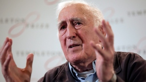 Jean Vanier, the founder of L'ARCHE, gestures as he talks during a news conference, in central London, Wednesday, March 11, 2015. THE CANADIAN PRESS/AP, Lefteris Pitarakis