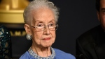 "In this Feb. 26, 2017, file photo, Katherine Johnson, the inspiration for the film, ""Hidden Figures,"" poses in the press room at the Oscars at the Dolby Theatre in Los Angeles. Johnson, a mathematician on early space missions who was portrayed in film ""Hidden Figures,"" about pioneering black female aerospace workers, died Monday, Feb. 24, 2020. (Photo by Jordan Strauss/Invision/AP, File)"