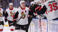 Ottawa Senators forward Jaen-Gabriel Pageau (44) celebrates his goal during the first period of the team's NHL hockey game against the Buffalo Sabres in Buffalo, N.Y., on January 28, 2020. THE CANADIAN PRESS/AP, Jeffrey T. Barnes