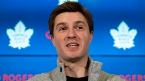 Toronto Maple Leafs General Manager Kyle Dubas holds a news conference in Toronto on Monday, February 24, 2020. THE CANADIAN PRESS/Frank Gunn