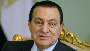 In this April 2, 2008 file photo, Egyptian President Hosni Mubarak looks attends a meeting at the Presidential palace, in Cairo, Egypt. Egypt state TV said Tuesday, Feb. 25, 2020. that the country's former President Hosni Mubarak, ousted in the 2011 uprising, has died at 91. (AP Photo/Amr Nabil, File)
