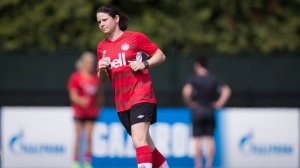 Canada's Diana Matheson jogs during a FIFA Women's World Cup soccer practice session in Vancouver on June 24, 2015. Veteran Diana Matheson returns to the national team after a one-year injury absence for the Tournoi de France, an elite women's soccer tournament. Coach Kenneth Heiner-Moller announced his squad Tuesday for the tournament that will see eighth-ranked Canada take on the third-ranked Netherlands, No. 4 France and No. 9 Brazil next month in Calais. THE CANADIAN PRESS/Darryl Dyck