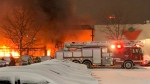 Crews are on scene of a massive fire at a Brampton Canadian Tire. (Twitter/ Brampton Fire and Emergency Services)