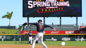 Atlanta Braves first baseman Freddie Freeman and the team take batting practice while preparing to play the Baltimore Orioles in a spring baseball game at the Braves new facility CoolToday Park on Saturday, Feb. 22, 2020, in North Port, Fla. (Curtis Compton/Atlanta Journal-Constitution via AP)