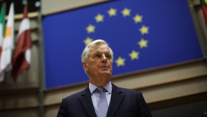 European Commission's Head of Task Force for Relations with the United Kingdom Michel Barnier arrives to give a speech to university teachers and students at the European Parliament in Brussels, Wednesday, Feb. 26, 2020. (AP Photo/Francisco Seco)
