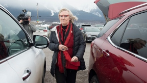 Minister of Crown-Indigenous Relation, Carolyn Bennett arrives in Smithers, B.C., Thursday, Feb. 27, 2020. The Minister, along with Provincial counterparts, will meet later today with Wet'suwet'en hereditary chiefs. THE CANADIAN PRESS/Jonathan Hayward