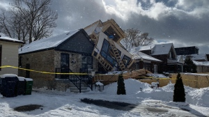 A home that collapsed in Toronto is seen in this photo on Thursday, Feb. 27, 2020. (CTV News Toronto / Peter Muscat)