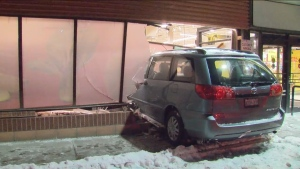 A van crashed into a North York No Frills early Friday morning.