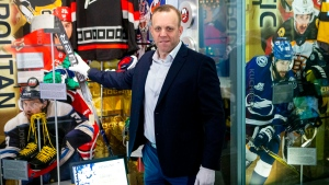 David Ayres appears in front of the media at the Hockey Hall of Fame in Toronto, on Friday, February 28 , 2020, as he donates his stick used in an NHL game between Toronto Maple Leafs and Carolina Hurricanes. THE CANADIAN PRESS/Chris Young