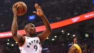 Toronto Raptors centre Serge Ibaka (9) shoots over Indiana Pacers centre Myles Turner (33) during first half NBA basketball action in Toronto on Sunday, Feb. 23, 2020. THE CANADIAN PRESS/Frank Gunn