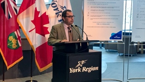 Dr. Karim Kurji, the York Region medical officer of health, spoke to reporters at a news conference Saturday about the first confirmed positive case of COVID-19 in his region.