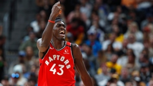 Toronto Raptors forward Pascal Siakam argues for a review of a foul called on him in the second half of an NBA basketball game against the Denver Nuggets Sunday, March 1, 2020. The Nuggets won 133-118. (AP Photo/David Zalubowski)