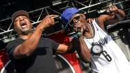 FILE - This May 29, 2015 file photo shows Chuck D, left, Flavor Flav of Public Enemy performing at the 2015 BottleRock Napa Valley Music Festival in Napa, Calif. Public Enemy has abruptly fired founding member Flavor Flav following a public spat over the rap group's plan to perform at a Bernie Sanders campaign event. (Photo by Rich Fury/Invision/AP, File)