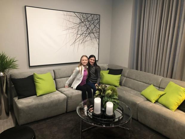 "Morgan Wigle and Natasha Zaborski from ""My Perfect Landing""  are shown in the green room."
