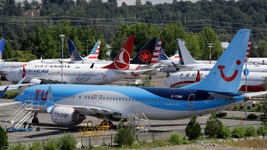 FILE - This Aug. 15, 2019, file photo shows dozens of grounded Boeing 737 Max airplanes crowd a parking area adjacent to Boeing Field in Seattle. The House Transportation Committee issued a summary Friday, March 6, 2020, of its investigation so far into Boeing and the Federal Aviation Administration. (AP Photo/Elaine Thompson, File)
