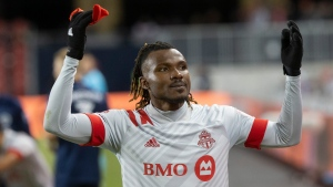 Toronto FC forward Ifunanyachi Achara (99) gestures to fans as he is taken out of the game during the last minutes second half MLS action against New York City FC in Toronto on Saturday March 7, 2020. THE CANADIAN PRESS/Chris Young