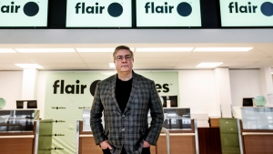 Flair Airlines CEO Jim Scott pictured at the Edmonton International Airport, in Edmonton Alta, on Thursday March 5, 2020. THE CANADIAN PRESS/Jason Franson