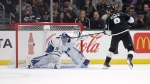 Los Angeles Kings' Adrian Kempe (9) scores past Toronto Maple Leafs goaltender Frederik Andersen during a shootout in an NHL hockey game Thursday, March 5, 2020, in Los Angeles. THE CANADIAN PRESS/AP/Marcio Jose Sanchez