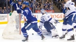 Toronto Maple Leafs right wing William Nylander (88) celebrates after scoring on Tampa Bay Lightning goaltender Andrei Vasilevskiy (88) during first period NHL hockey action in Toronto on Tuesday March 10, 2020. THE CANADIAN PRESS/Chris Young
