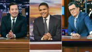 The late night talk shows announced that they will tape their shows without studio audiences due to the new coronavirus. (Andrew Lipovsky/NBC, from left, Sean Gallagher/Comedy Central, Scott Kowalchyk/CBS via AP)