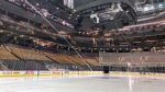 Fresh surfaced ice at Scotiabank Arena, home of the Toronto Maple Leafs, is shown in Toronto on Thursday, March 12, 2020. (THE CANADIAN PRESS/Joshua Clipperton)