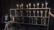 A rack of trophies are seen backstage at the 2017 Canadian Screen Awards in Toronto on Sunday, March 12, 2017. Homegrown comedy will be front and centre as the Canadian Screen Awards air Sunday without a host. THE CANADIAN PRESS/Chris Young