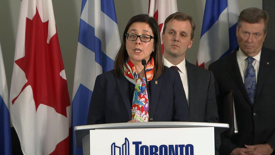 Toronto's Medical Officer of Health Dr. Eileen de Villa is shown during a press conference on Thursday.