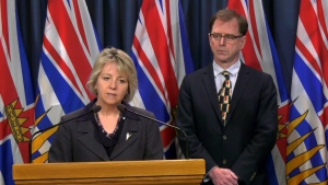 Bonnie Henry speaks to media from Victoria on Tuesday, March 17, 2020.