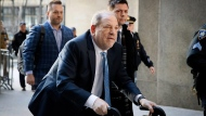 In this Feb. 24, 2020 file photo, Harvey Weinstein arrives at a Manhattan courthouse as jury deliberations continue in his rape trial in New York. Weinstein was transferred to a state prison in New York on Wednesday, March 18, as he begins to serve a 23-year sentence for rape and sexual assault in his landmark #MeToo case. (AP Photo/John Minchillo, File)