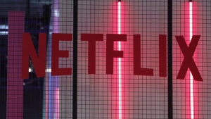 The logo of American entertainment company Netflix is pictured at the Paris games week in Paris, Saturday, Nov. 4, 2017. Netflix has announced a US$100 million global relief fund to support workers in the creative community, including Canada's, amid the COVID-19 pandemic. THE CANADIAN PRESS/AP/Christophe Ena