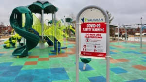 A sign advising users of a Vaughan playground that it has been closed to limit the spread of COVID-19 is shown. (City of Vaughan)