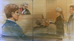 Tess Richey's mother looks at Kalen Schlatter, 23, in this court sketch inside a Toronto courtroom on Wednesday, March 25, 2020. (John Mantha/ CTV News Toronto)