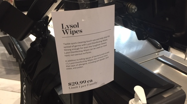 Lysol wipes are advertised for $29.99 at a Pusateri's store at Avenue Road and Lawrence Avenue. (Ross Arbour/ CTV News)