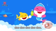 "This image released by Pinkfong shows. scene from the modified ""Baby Shark"" video, reworked to teach kids good hygiene to combat COVID-19. The company has debuted the ""Wash Your Hands With Baby Shark"" video and now has started a dance challenge to encourage families to upload videos of their children washing hands to the song. (Pinkfong via AP)"