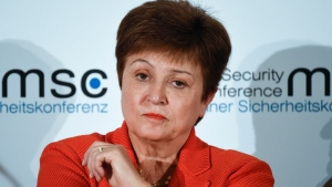 FILE - In this Feb. 14, 2020 file photo, Kristalina Georgieva, Managing Director of the International Monetary Fund, attends a session on the first day of the Munich Security Conference in Munich, Germany. Georgieva said Friday, March 27, it is clear that the global economy has now entered a recession that could be as bad or worse than the 2009 downturn. (AP Photo/Jens Meyer, File)