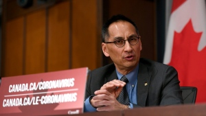 Deputy Chief Public Health Officer Dr. Howard Njoo speaks at a press conference on COVID-19 at West Block on Parliament Hill in Ottawa, on Wednesday, March 25, 2020. THE CANADIAN PRESS/Justin Tang