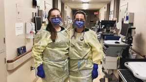 Healthcare workers wear personal protective equipment paid for by Knix in an undated photo.