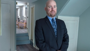 Alan MacLeod Jr., a funeral director at his family-owned Ettinger Funeral Home in Shubenacadie, N.S. is seen on Friday, March 27, 2020. With the COVID-19 pandemic, some funeral homes are limiting services to five people and others are turning to digital options, similar to what churches are doing. THE CANADIAN PRESS/Andrew Vaughan