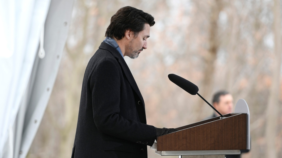 Prime Minister Justin Trudeau listens to question during his daily press conference on COVID-19, in front of his residence at Rideau Cottage, on the grounds of Rideau Hall in Ottawa, on Saturday, March 28, 2020. THE CANADIAN PRESS/Justin Tang