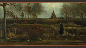 "This image released by the Gronninger Museum on Monday March 30, 2020, shows Dutch master Vincent van Gogh's painting titled ""The Parsonage Garden at Nuenen in Spring"" which was stolen from the Singer Museum in Laren, Netherlands, Monday March 30, 2020. The Dutch museum that is currently closed to prevent the spread of the coronavirus says the was stolen in a smash-and-grab raid overnight. (Groninger Museum via AP Photo)"