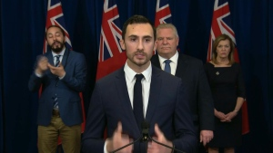 Education Minister Stephen Lecce is shown at Queen's Park on Tuesday.