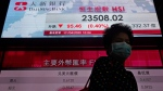 A woman wearing a face mask walks past a bank's electronic board showing the Hong Kong share index at Hong Kong Stock Exchange Wednesday, April 1, 2020. (AP Photo/Vincent Yu)